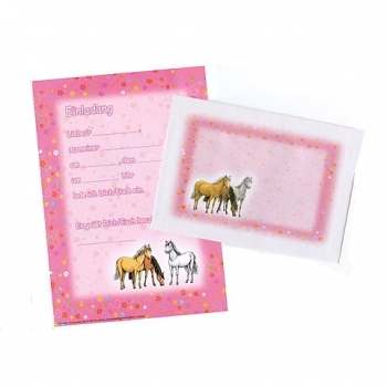 12 Rosa Traumpferdchen Einladungskarten