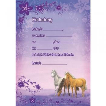 12 Pferde Einladungskarten In Lila