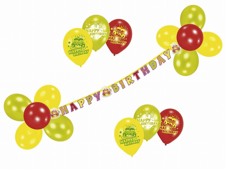 happy birthday party deko set geburtstagsgirlande mit luftballons. Black Bedroom Furniture Sets. Home Design Ideas