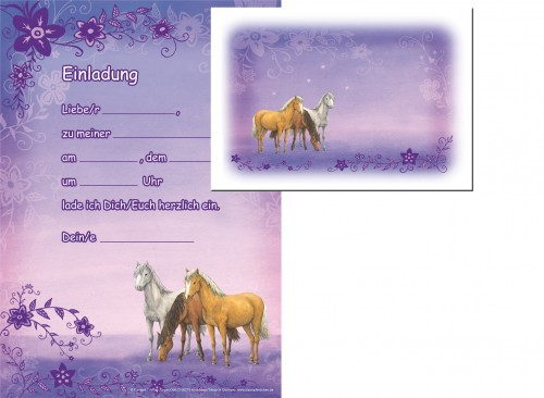 www.party-schatzkiste.de - 12 pferde einladungskarten in lila, Einladungsentwurf
