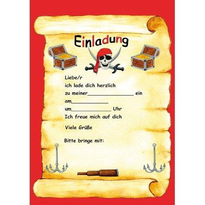 Perfekt 12 Piraten Einladungskarten
